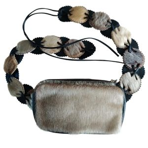 First nations fur and leather bag belt